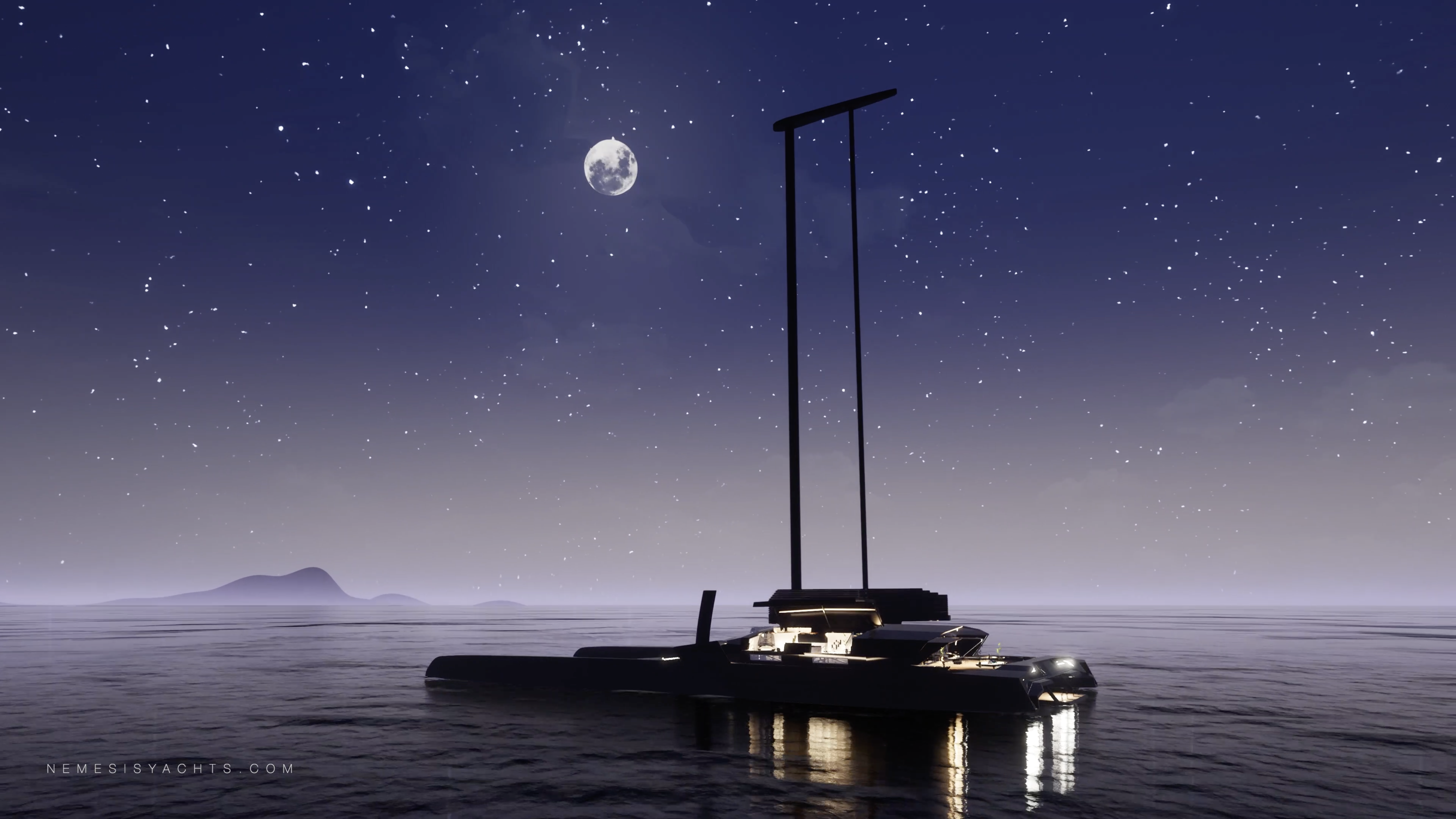 Nemesis One Catamaran Anchor Night