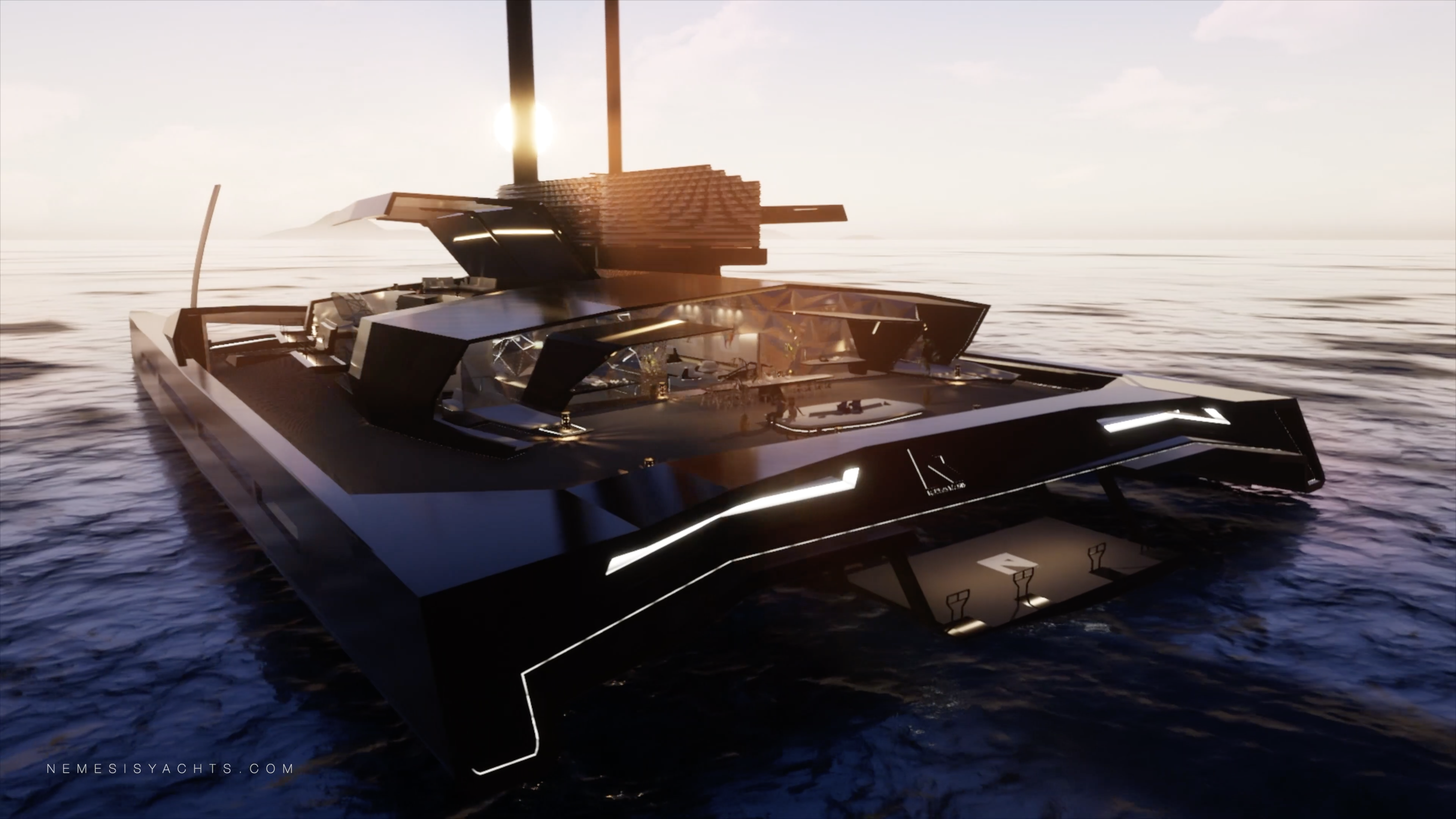 Nemesis One - Hydrofoil Catamaran Stern View  Sunset