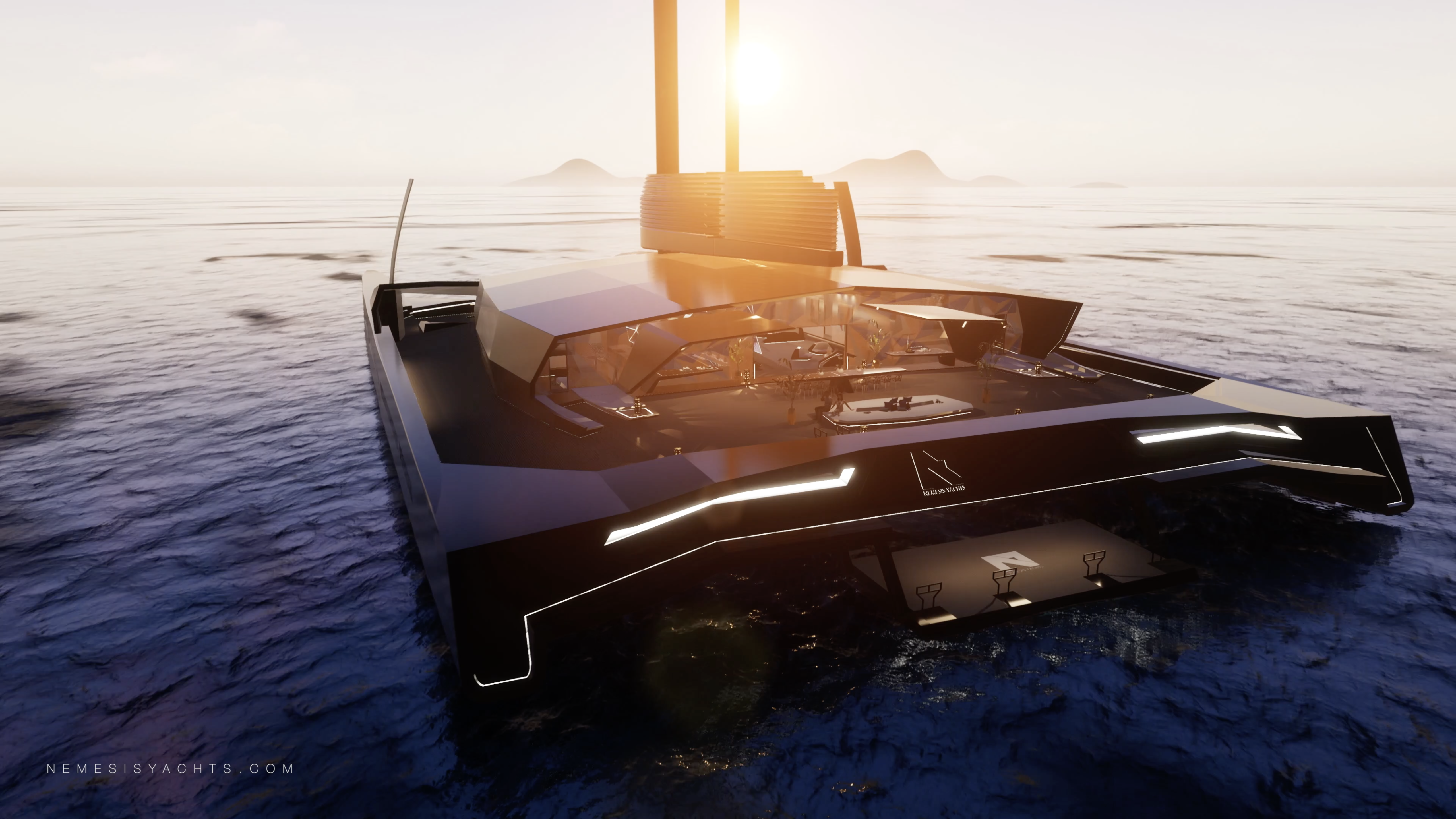 Nemesis One - Hydrofoil Catamaran Side Module Sunset